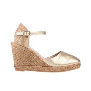 Gaimo Obi Gold Leather Wedge Espadrilles Ankle